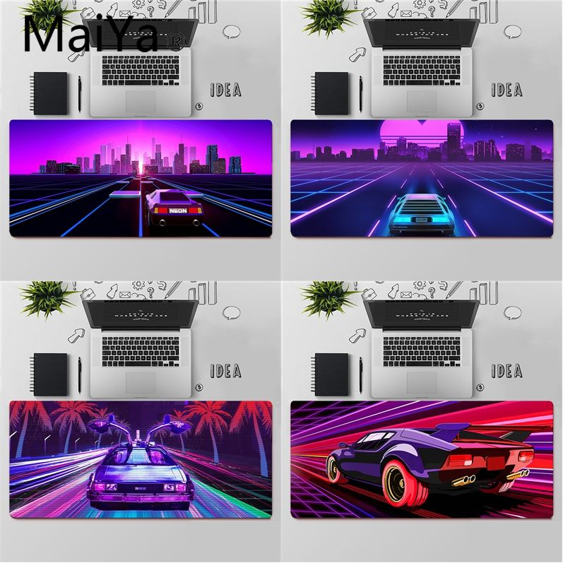 Maiya Top Quality Neon Retrowave synthwave car Rubber Mouse Durable Desktop Mousepad Free Shipping Large Mouse Pad Keyboards Mat image