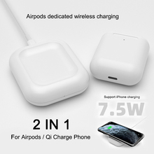 2 in 1 7.5W Qi Fast Charging Wireless Station Charger for Apple Airpods 2 AirPods Pro iPhone 8Plus XS Max XR 11 Pro Charger Dock 15w fast charge 2 in 1 wireless charger for iphone 11 pro xs max xr x qi fast wireless charging pad for airpods pro 1 2 charger