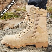 Mężczyźni Desert Tactical buty wojskowe męskie pracy bezpieczeństwa buty buty wojskowe Militares Tacticos Zapatos męskie buty buty kobieta tanie tanio CQB SWAT Desert Boots Krowa Zamszu ANKLE Stałe Płótno Dla dorosłych Pasuje prawda na wymiar weź swój normalny rozmiar