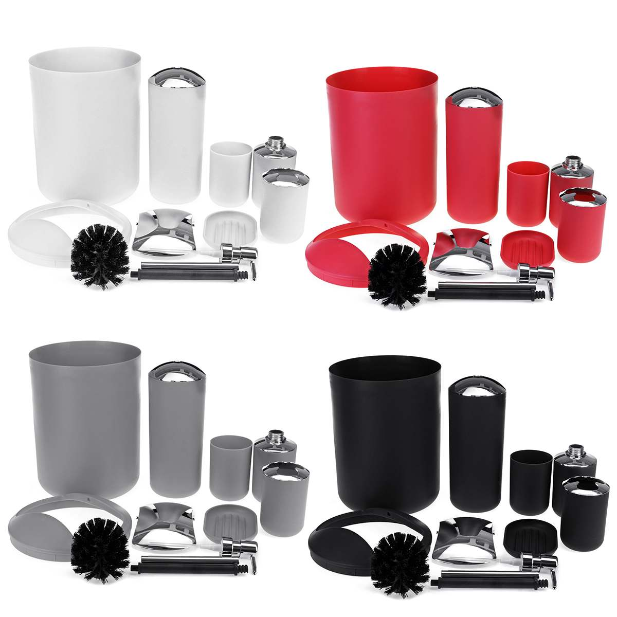 6Pcs/Set Luxury Bathroom Accessories Plastic Toothbrush Holder Cup Soap Dispenser Dish Toilet Brush Holder Trash Can Set image