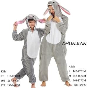 Girls Rabbit Animal Kigurumi Pijamas For Adult Boys Blanket Sleeper Onesie Unicorn Kids Piglet Costume Kids Onesie
