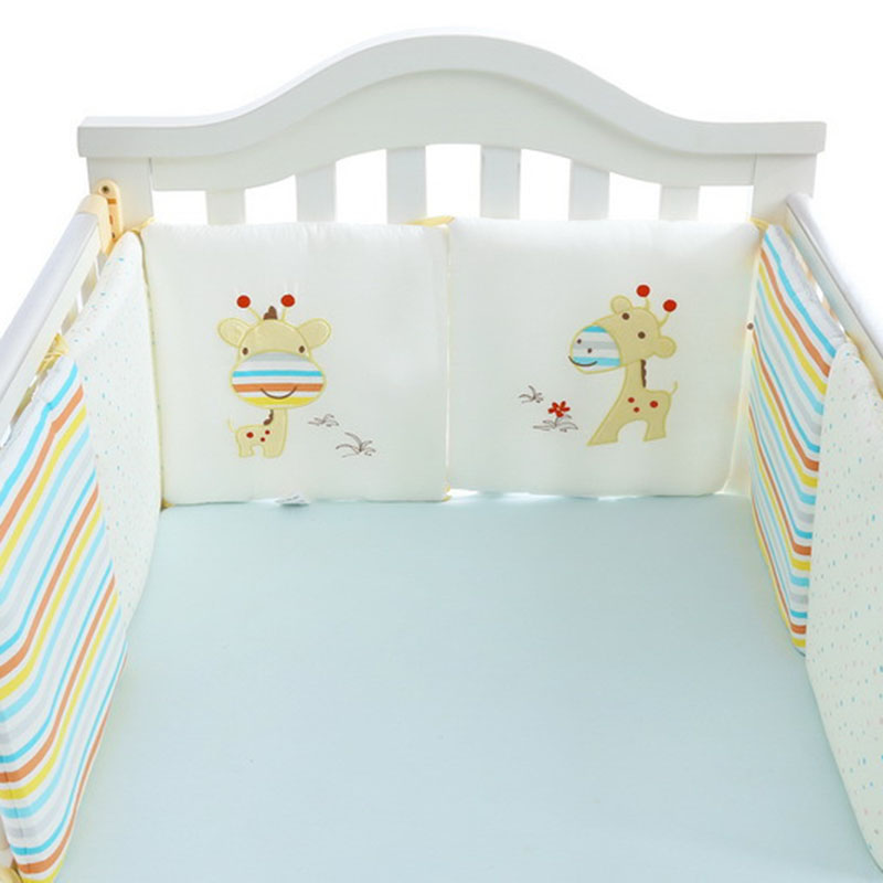 FBIL-Baby Bumper For Newborns Nordic Thick Soft Bumpers In The Crib For Baby Room Decoration Crib Protector For Infant Cot 6 Pcs
