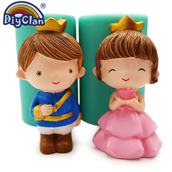 3D Valentine's Day Prince Princess Couple Doll Chocolate Silicone Mold For Cake Topper Decoration Candle Making Form For Wedding