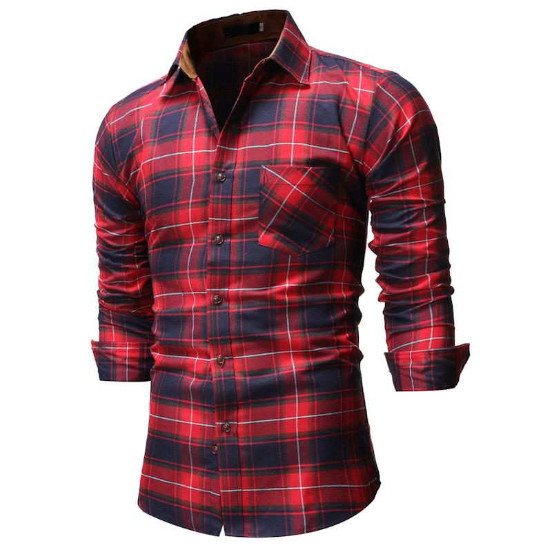 Check Stripe Pattern Evening Dress Social Shirt For Men Grid Shirts Man Plaid Stay Slim Fit Casual Blouse Male Red