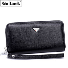 GO-LUCK Brand Fashion Genuine Leather Business Wristlet Cluch Wallet Men Cardholder Card Case Purse Men's Cell Phone Pouch