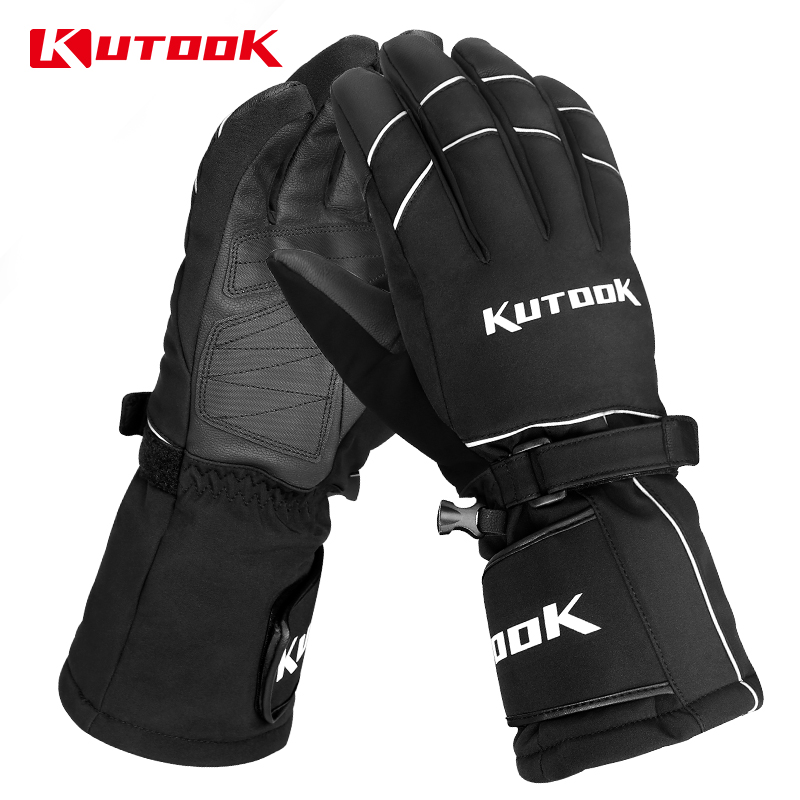 KUTOOK Winter Warm Ski Gloves Touch Screen Snowmobile Bicycles Thicken PU Snowboard Waterproof Thermal Men Women Skiing Gloves