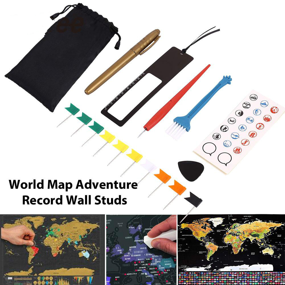 8pcs/Bag DIY Scratch Pen Set Scratch Map Tool Set For Scratch Map Maps Accessories Markers Stickers