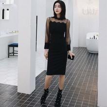 Women Lace Patchwork Basic Wear Bodycon Midi Dress Black Autumn Winter 2019 Ropa Mujer Patc Sexy Wrap