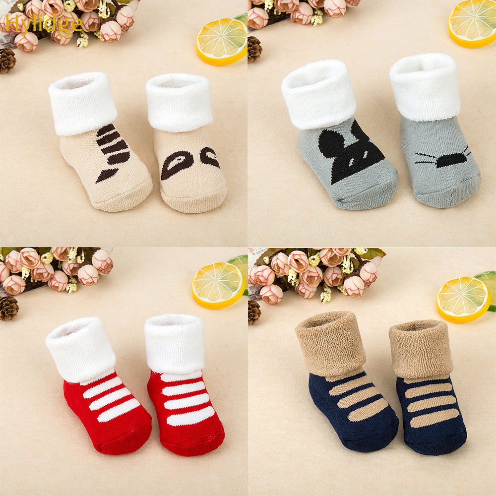Hylidge Winter Children Kids Christmas Socks Baby Socks Cotton Cute Cartoon Funny Socks For Infant Toddler Boy Girl Terry Socks