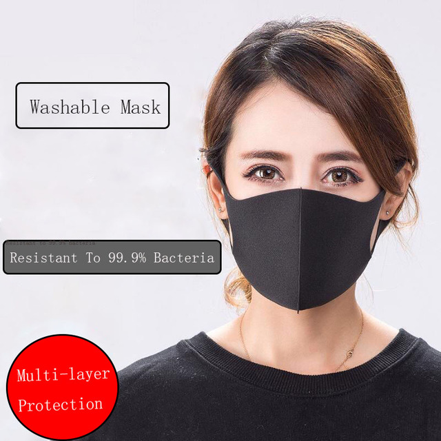 10Pcs Washable Reusable Kpop Face Breathing Mask Anti Dust Polution Environmental Mouth Mask Respirator Fashion Black Mask 2