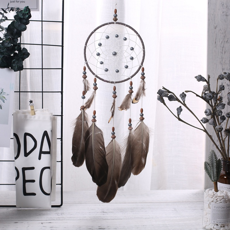 Handmade Dream Catcher Wind Chimes Dreamcatcher Net with Feather Bead Wall Hanging Decoration Indoor Ornament Craft Gifts