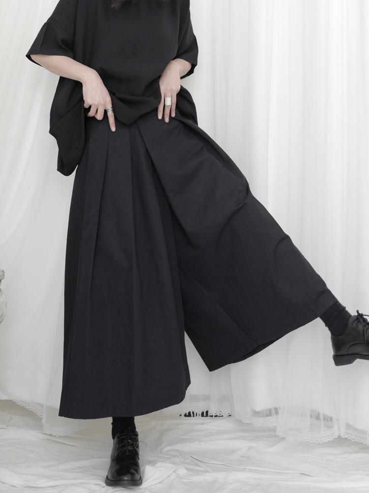Yamamoto Black Capri Pants, high-waisted woman, slim, irregular, Japanese wide-legged Pants