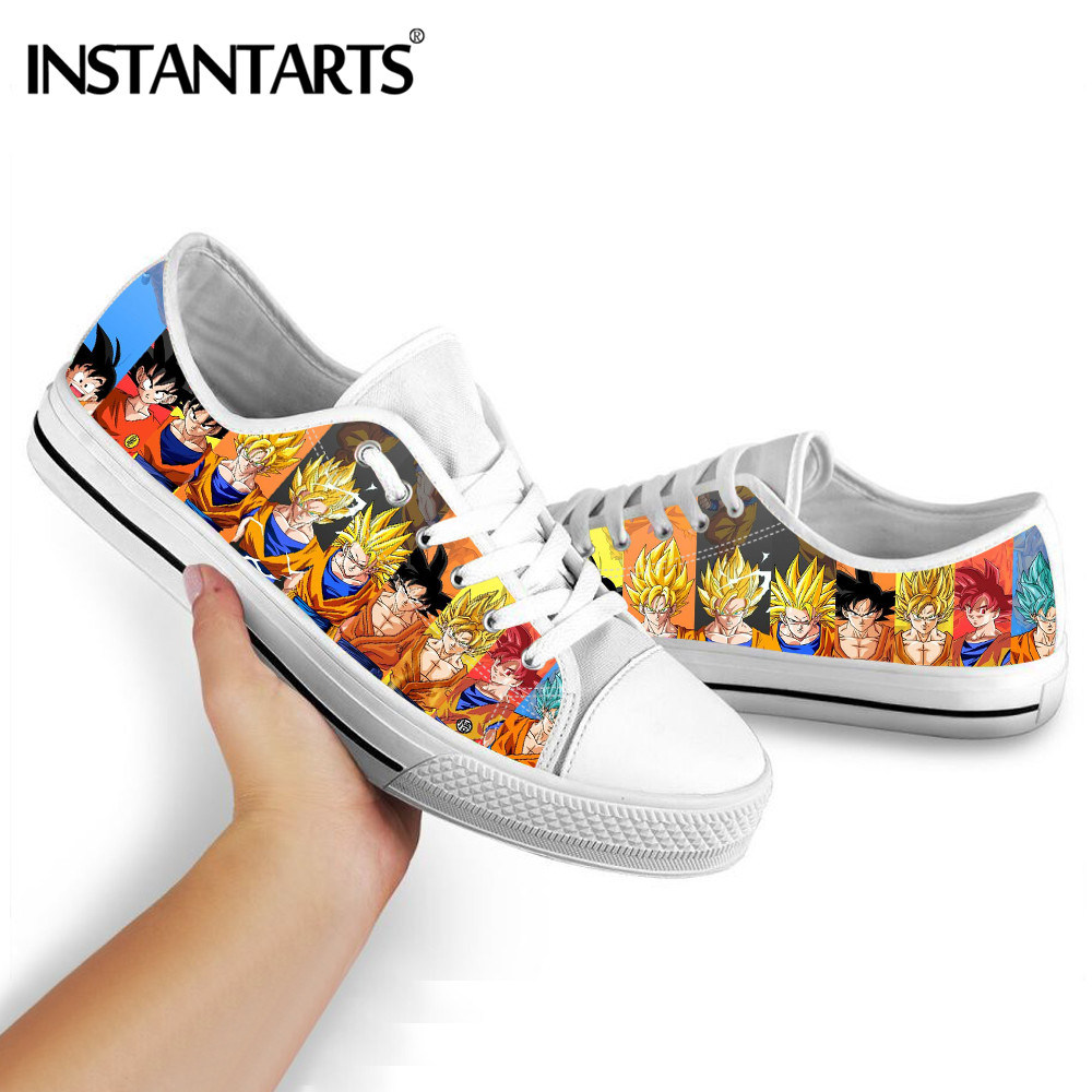 INSTANTARTS Men's Low Top Vulcanize Shoes Dragon Ball Z Goku Super Saiyan Broly Print Canvas Shoes Adult Casual Lace Up Sneakers