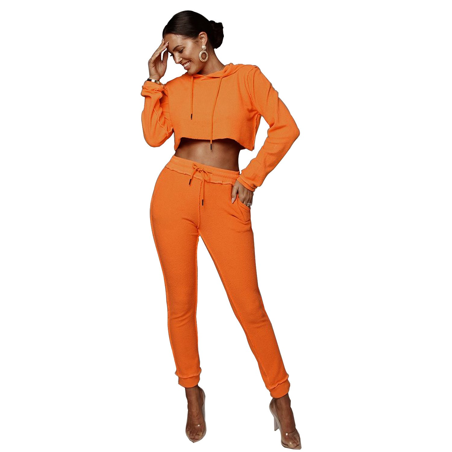 Nice Fall Solid Hooded Long Sleeve Hoodies Pants Suit Short Women Two Piece Set Sporting Casual Tracksuit Outfit