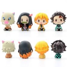 4 pçs anime figura demon slayer kimetsu não yaiba boneca tanjiro nezuko zenitsu demônio slayer kawaii quarto decoração brinquedos das crianças