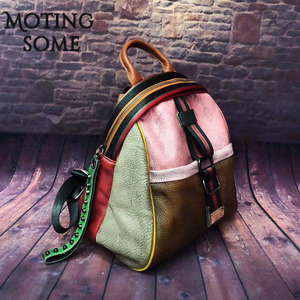 Image 2 - Vintage Genuine Leather Backpack Women Real Leather Retro Style Patchwork Travel Shoulder Bags School Ladies Mochilas 2020 New