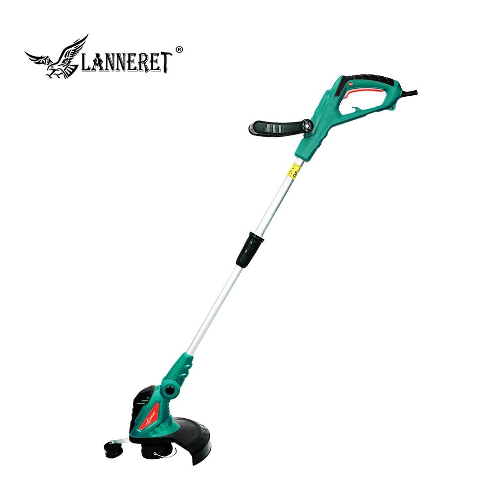 LANNERET 550W AC Electric Grass Trimmer Hand Cleaner Grass Cutter Machine Line Trimmer Ajustable Shaft Rotation Tube Garden Tool