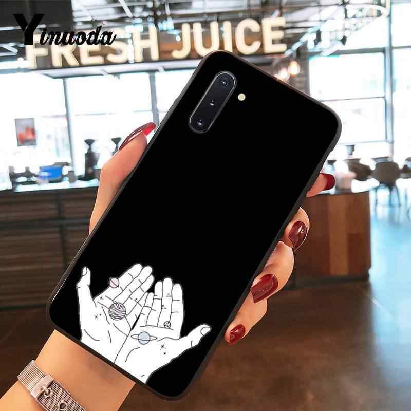 Yinuoda 黒芸術抽象ライン愛ソフトシリコーン電話ケースカバー三星銀河 S9 プラス S3 S6 7 8 9 S10 E S9