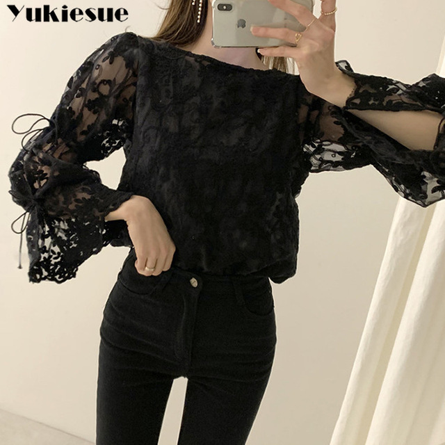 Spring Autumn New Girl Chiffon shirt Fashion embroidered lace Tops Elegant Flare sleeve Casual Women blouse Blusa womens blouses 2