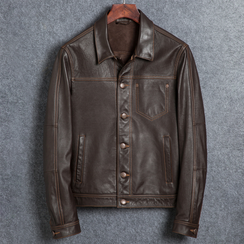 Genuine Jacket Leather Men Short Vintage Autumn Cow Leather Jackets And Coats Motorcycle Veste Cuir Homme 1825 YY286