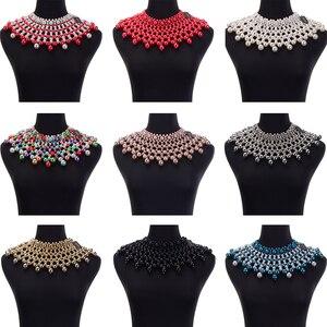 Image 5 - 10 색상 chunky 성명 목걸이 여성 목걸이에 대 한 턱 받이 목걸이 초커 수 제 파란색 된 목걸이 결혼식 파티에 대 한 맥시 보석