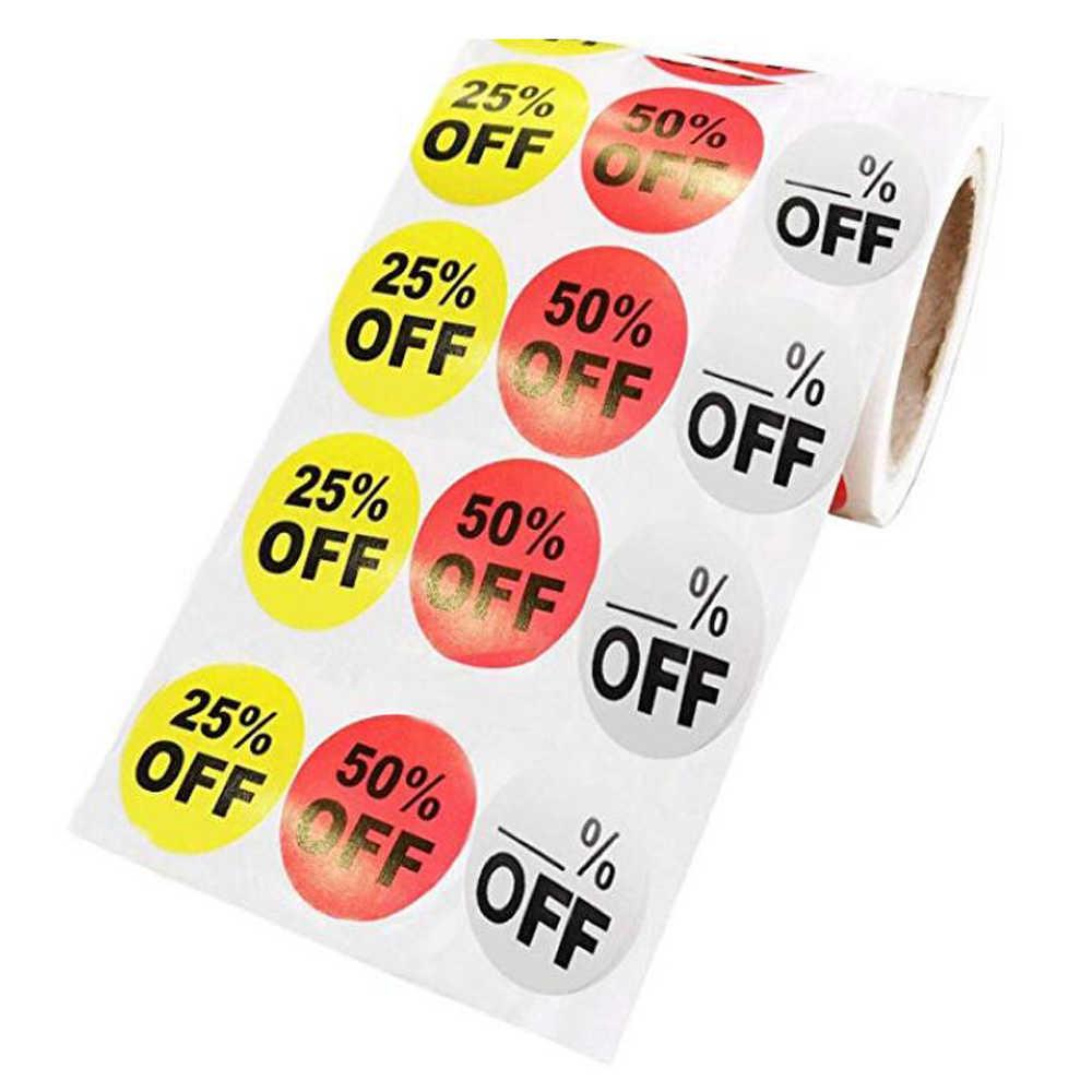 بيع شارة السعر ملصق الخصم متجر التجزئة التخليص تعزيز الخصم شارة السعر نصف أضعاف التسمية ملصقا (20 مللي متر ، أحمر)