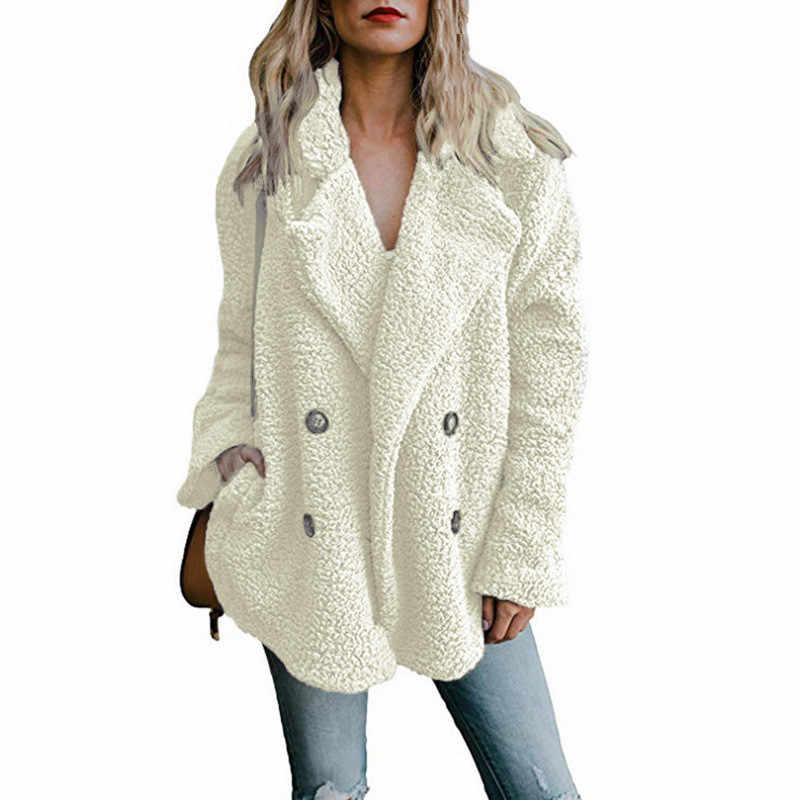 Teddy Mantel Frauen Faux Pelz Mäntel Langarm Flauschigen Fell Jacken Winter Warme Weibliche Jacke Frauen Winter Mäntel 2020 Plus größe 5XL