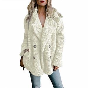 Image 1 - טדי מעיל נשים פו פרווה מעילים ארוך שרוול פלאפי פרווה מעילי חורף חם נשי מעיל נשים מעילי חורף 2020 בתוספת גודל 5XL