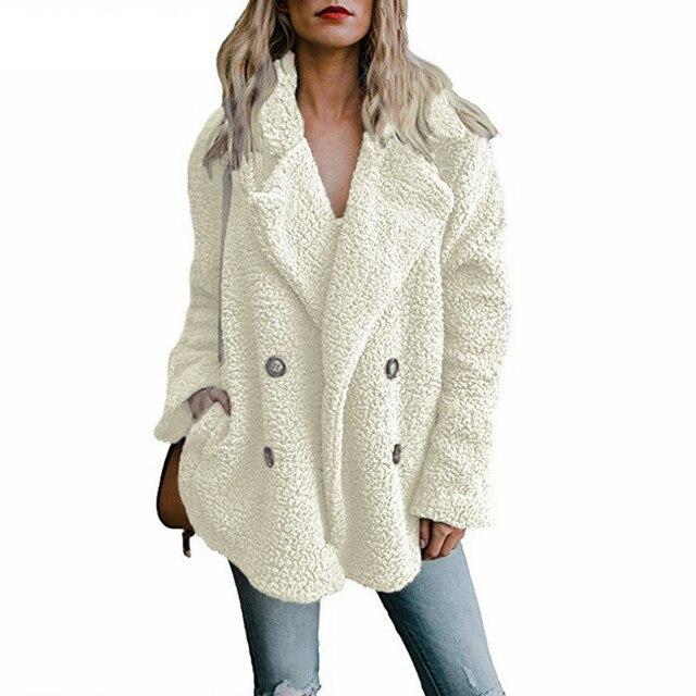 טדי מעיל נשים פו פרווה מעילים ארוך שרוול פלאפי פרווה מעילי חורף חם נשי מעיל נשים מעילי חורף 2020 בתוספת גודל 5XL