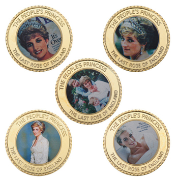 WR Diana Spencer Gold Plated Coins Collectibles with Coin Case British Royal Challenge Coin Souvenir Metal Gift Set Dropshipping image