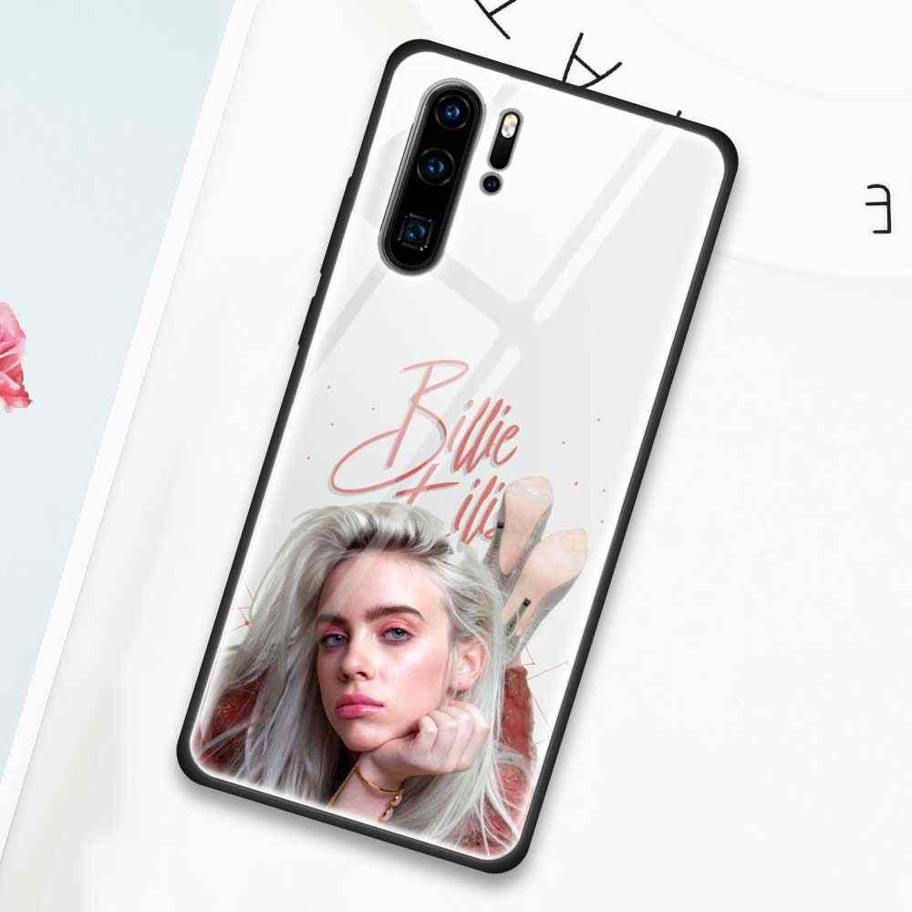 Billie Eilish Kính Cường Lực Bao Da Ốp Lưng Cho Huawei P30 P20 P20Lite 2019 Danh Dự 9X 9 Xpro 20 20Pro Ốp Lưng vỏ