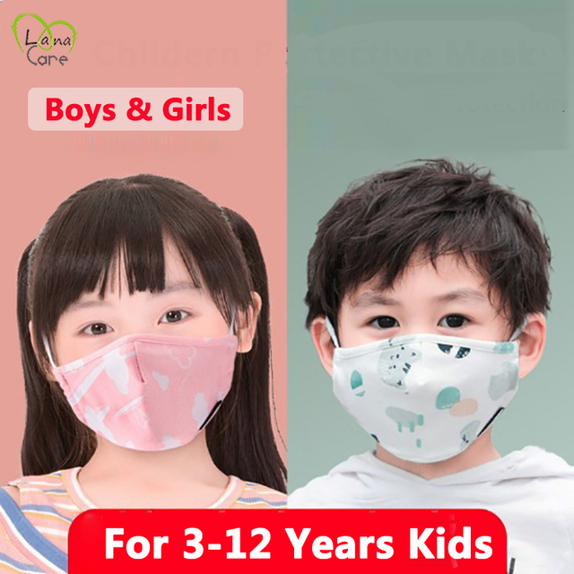 For 3-12 Years Children Mask Face + Kid Mask Filters Reusable Cotton Face Mask Kids Mask 1