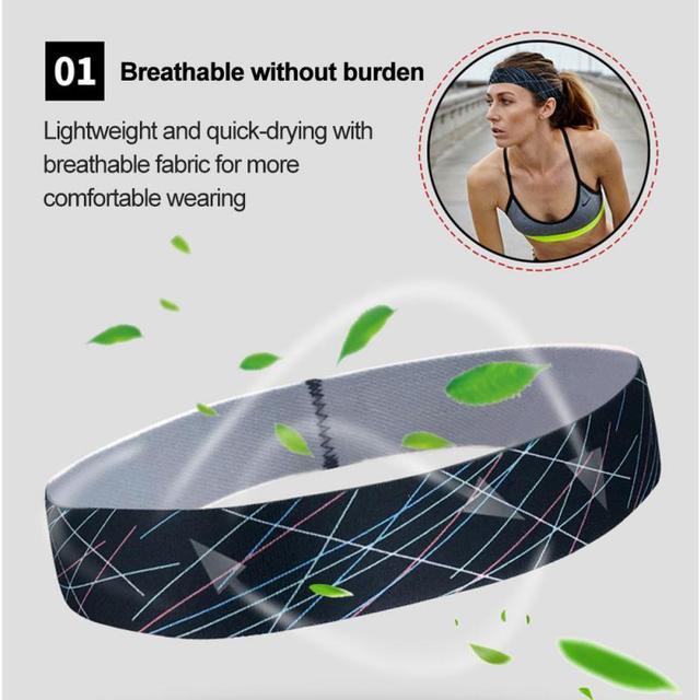 Women/Men Cotton Sweat Sweatband Yoga Gym Stretch Headband Anti-Slip Breathable Fitness Hair Band Sport Sweat Guiding Belt 4