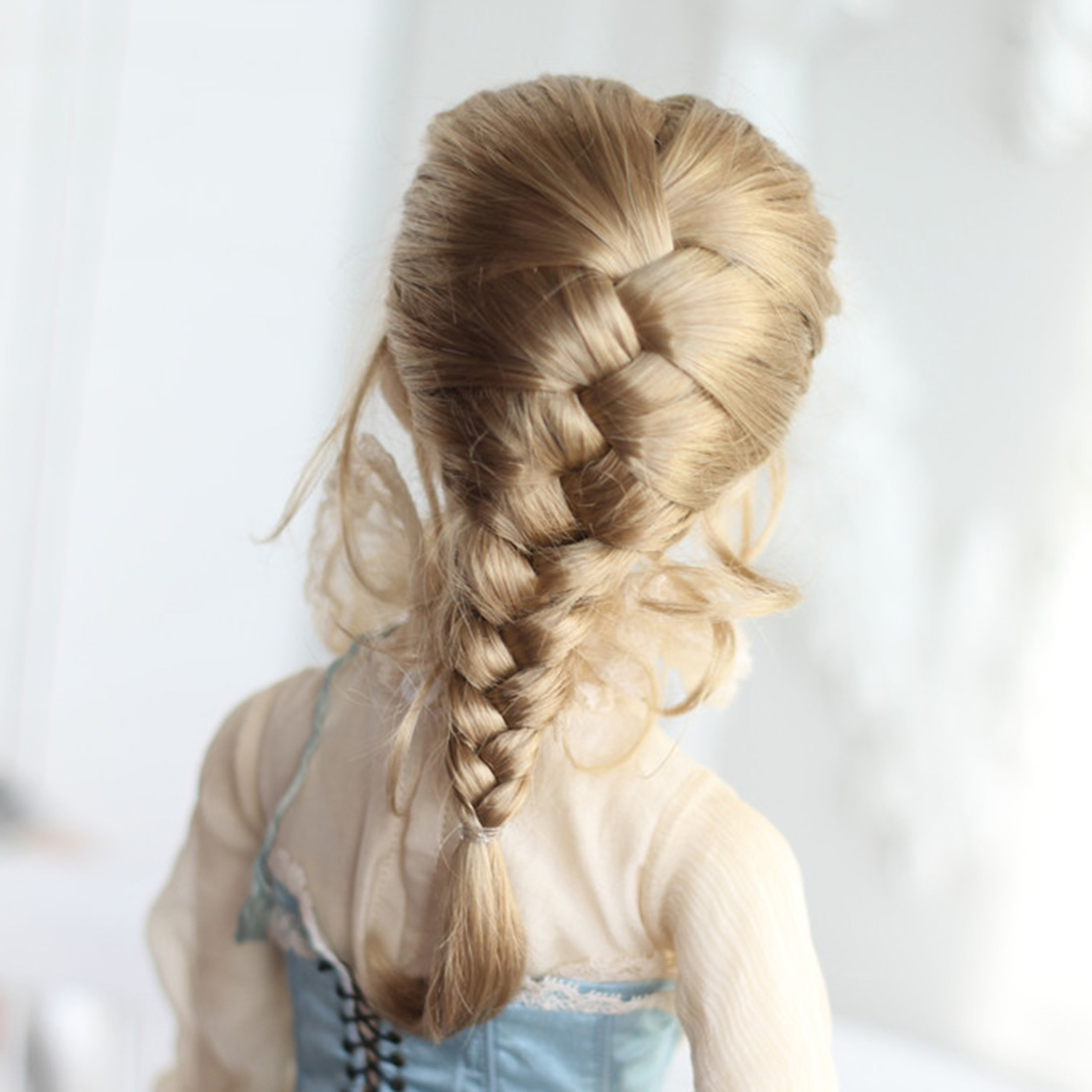 7-8 Inches <font><b>BJD</b></font> Dolls Accessories Female Doll <font><b>Wig</b></font> Braided <font><b>Wig</b></font> For 1/4 <font><b>BJD</b></font> Dolls For Children Educational Toys Gift - Light <font><b>Brown</b></font> image