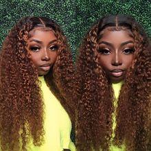 13*4 Синтетические волосы на кружеве парик 1B/30 курчавые бразильские Волосы Remy эффектом деграде (переход от темного к Цвет плотность 180% челове...