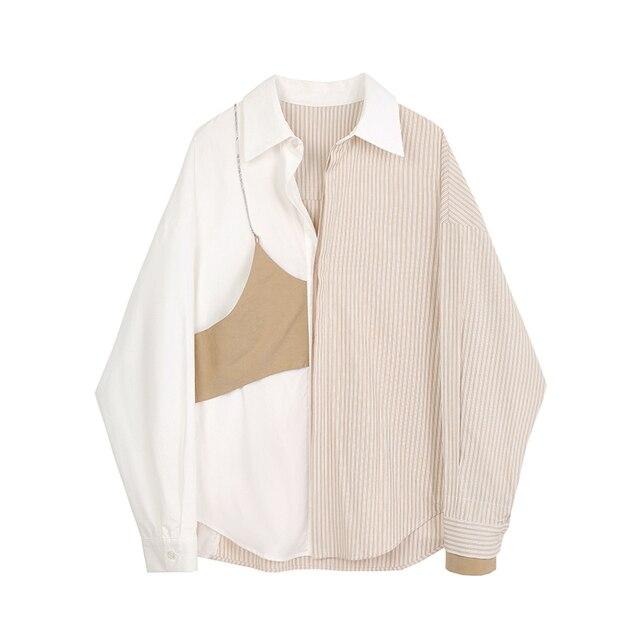 women's shirt 2020 New Lapel Striped Big Size Fashion Tide Spring Autumn Women Khaki Blouse  Long Sleeve Loose Fit Shirt 1