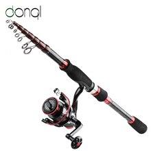 DONQL Carbon Fiber Spinning Rod Fishing Reel Set Telescopic Travel Sur