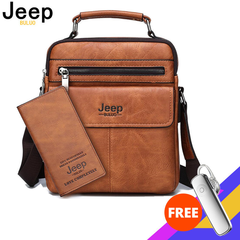 JEEP BULUO Mens Crossbody Shoulder Bags Big Size Split Leather  Handbag Fashion Business Man Messenger Bag High quality Tote Hot  -