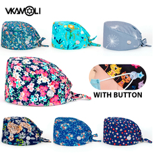 Adjustable Working Caps with Button Gourd Tie Back Bouffant Hats Sweatband Caps Breathable Hair Cover for Women Men scrub caps
