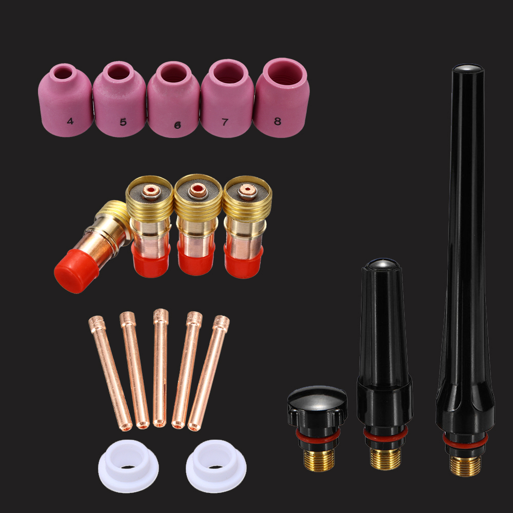 Tig Welding Torch accessories For WP-17/18/26 Tig collet body gas lense SR17 SR18 SR26 back cap welding kit alumina cup nozzle