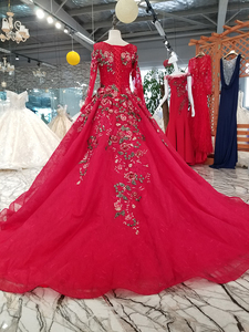 Image 2 - BGW HT33020 Color Lace Flower Beautiful Dress Quick Shipping From China Long Sleeve O neck Lace Up Back Cheap Evening Dress 2020
