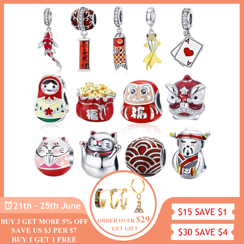 Chinese New Year Red DIY Beads BISAER 925 Sterling Silver lantern mouse Koi silver charms Beads fit Pandora Original Bracelet