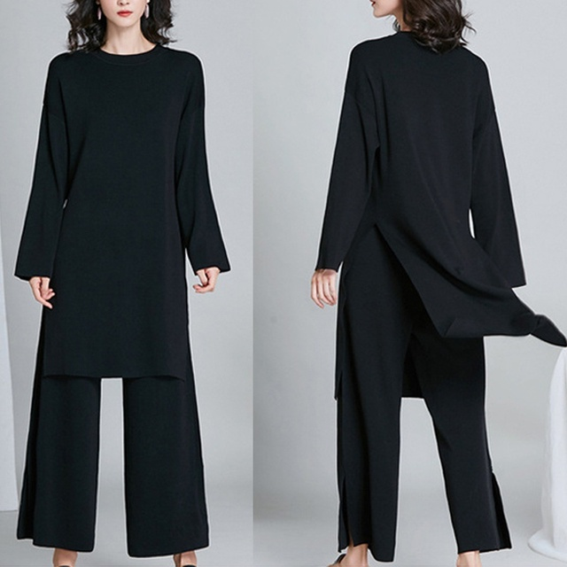 New Brief Elegant Two-piece Set Women's Loose O-neck Knitted Pullover Side Slit Long Sleeve Sweater Dresses&pants High Quality 5