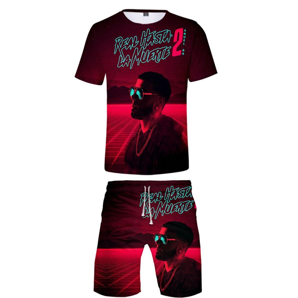 Anuel AA Men's Sportswear 2 Piece Set Casual 2019 Summer Short Sleeve T-shirt + Shorts Tracksuit Men 3d Real Hasta La Muerte