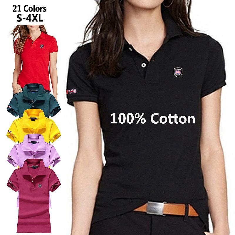 100% Cotton High Quality Summer S-4XL Womens Polos Shirts Casual Ladies Short Sleeve Lapel Tees Fashion Slim Female Tops