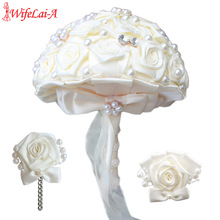 WIFELAI-A New Ivory Rose Pearl Wedding Prom Bridesmaid Sisters Wrist Flower And Boutonniere Bridal Bouquet Accessories