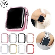 Bling capa protetora para apple assistir série 6 se 5 4 3 2 diamante amortecedor caso capa 38mm 42mm cristal casos para iwatch 40mm 44mm