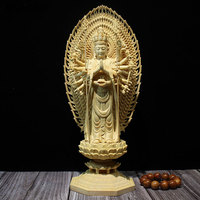 28/43cm Thousand Hands Guanyin Boxwood Wood Carving Figurines Hand carved Buddha Statue crafts Home Decoration Accessories