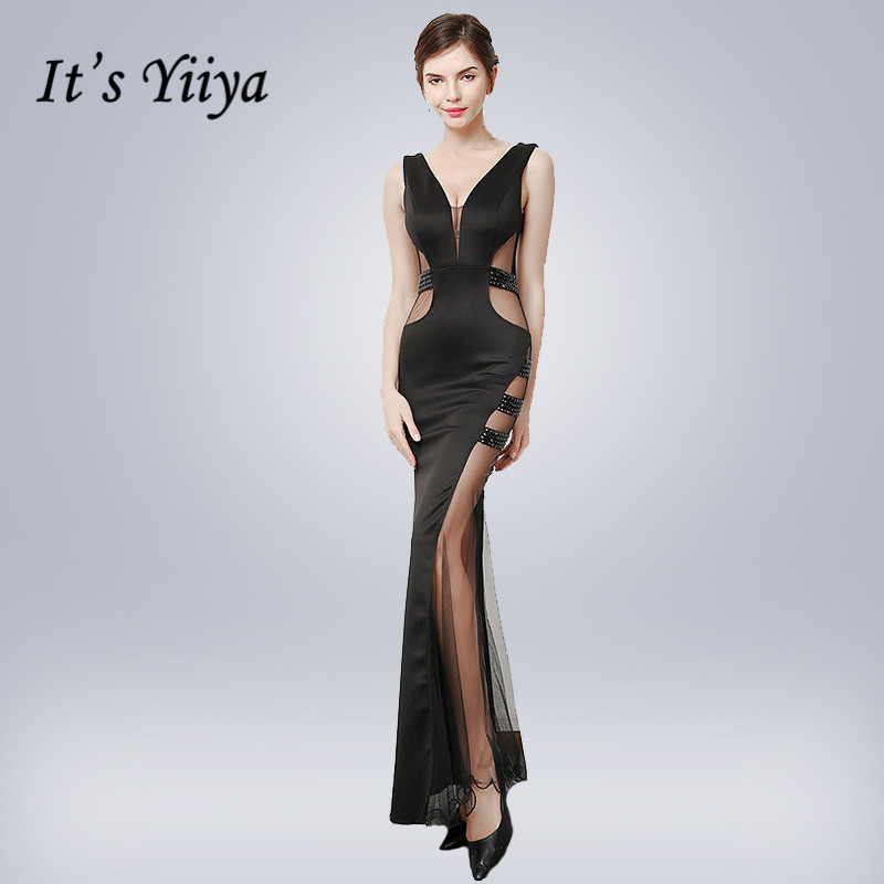 Black Evening Gown It's Yiiya DX386 Floor-Length Sexy Cut-out Split Evening Dress 2020 Sleeveless Crystal V-Neck Robe De Soiree