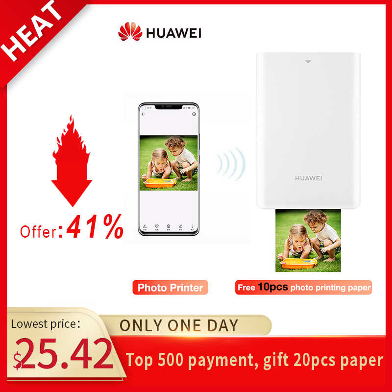 Asli Huawei AR Portable Pocket Photo Printer Mini Bluetooth 4.1Printer Bingkai Foto untuk Semua Moble Ponsel 300 Dpi Cepat printer